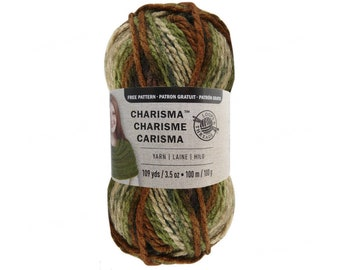 DEEP WOODS Bulky Charisma Loops and Threads Yarn. Camo Green and Brown Ombre Yarn. 3.5oz 109yds. Bulky Camouflage Variegated Soft Acrylic.