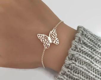 Sterling Silver Filigree Butterfly Bracelet, Butterfly jewelry, Butterfly bracelet, Gift for butterfly lover
