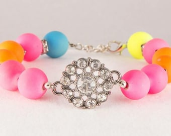 Girls neon and rhinestone bracelet