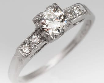 Antique Diamond Engagement Ring - Old European Cut Diamond W Diamond Accents - 1930's Platinum Engagement Ring - WMD12648