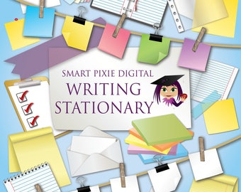 Writing stationary- Notepads, sticky notes, diaries, checklists, letters in envelopes etc. (PNG graphics)