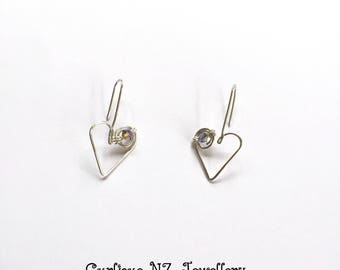 Sterling Silver Koru Heart Drop Earrings with Swarovski Crystals