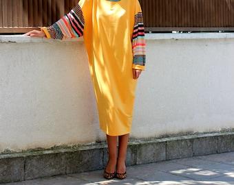 Yellow Maxi dress/ Midi dress/ Long sleeve dress/ Midi tea Dress/ Party dress/ Spring dress/ Day dress/ Casual dress/ Dress for work