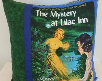 Nancy Drew pillow cover, The Mystery at Lilac Inn, Nancy Drew books, decorative pillow, throw pillow, gifts for her, vintage books, gifts