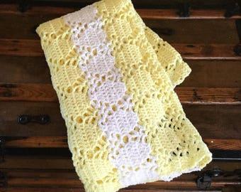 Vintage Baby Afghan - Yellow and White Baby Afghan - Crochet Afghan - Gender Neutral Afghan - Baby Blanket