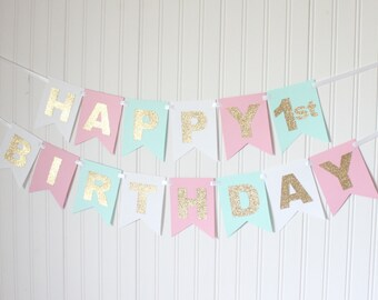 Gold, White, Pink, Mint, Happy Birthday Banner/ Girl Birthday/ Princess Party/ Party Decorations/ Custom Name/ Personalized