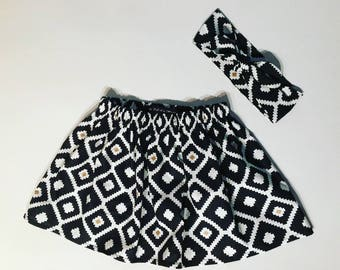 Skirt / geometric pattern with his asssorti band skirt. French manufacturing