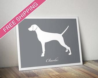 Personalized Weimaraner Silhouette Print with Custom Name (natural tail) - Weimaraner art, Weimaraner poster, dog gift, dog home decor