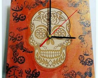 Sugar skull clocks. Wooden clocks. Clock. Skulls, sugar skulls