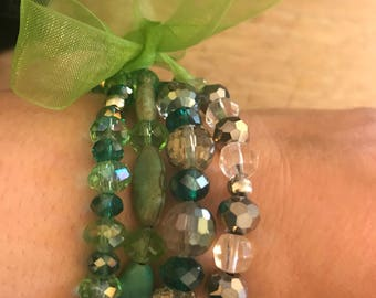 Set of 4 Green Beaded Bracelets