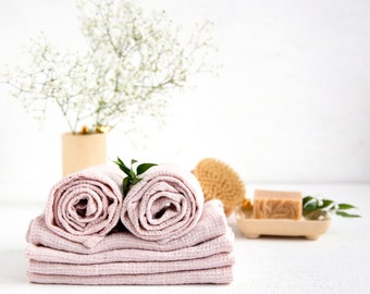 Luxury beach towels made of natural Baltic linen - Pink bath towels can be best Hostess gift bridal shower
