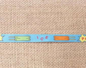 Vintage Colorful Blue Popsicles Ribbon 1.88 Yards
