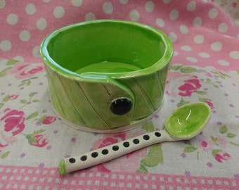 Handmade Pottery Salt Cellar with Spoon Made in UK Ceramic Salt Server - Apple Green