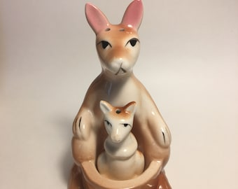Vintage Kangaroo and Joey Salt and Pepper Shakers Ceramic 1950s