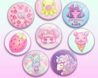 "Octopie Kawaii 1.5"" Button / Pin / Badge"