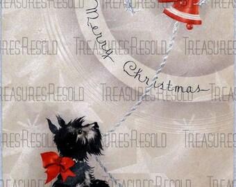 Retro Terrier Black Scottie Dog Christmas Card #122 Digital Download