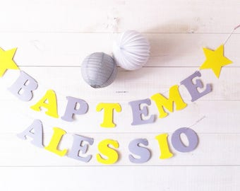 "Garland ""Baptism"" + name cotton coating-assorted colors + 2etoiles 210 gr paper"