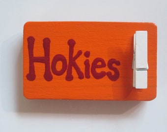 Virginia Tech Hokies magnet, hand painted wooden magnet with clip