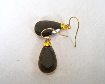 Smoky quartz earrings, quartz earrings, smoky quartz in 14 k gold filled, single stone earring, drop earrings, earringss