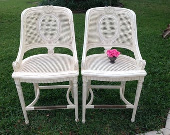 CENTURY CANE BARSTOOLS / Pair of Century Furniture Bar Stools / Cane French Carved Chairs / Baroque Lasalle Cane Chairs at Retro Daisy Girl