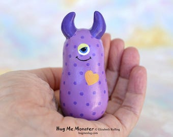 Handmade Monster Figurine, Purple, Gold, Miniature Sculpture, Hug Me Monster, Good Luck Charm Figure, Personalized Tag