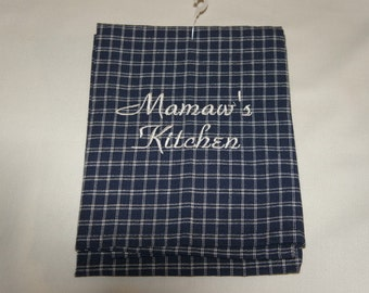 Mamaw's Kitchen Towel, Waffle Weave, Linen, Personalized