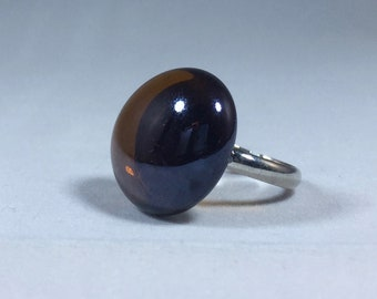 Amber Glass Pebble Adjustable Ring