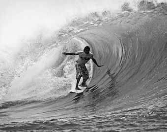 Black and White Print of a Surfer on a Surfing in Hawaii Surfing Photographs Picture Print on Canvas, Aluminum, or Photo Paper.