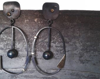 Oval handmade oxidized silver ,bronze and water pearl  earrings,   long  earrings, Freshwater pearl earrings,Mixed metals earrings
