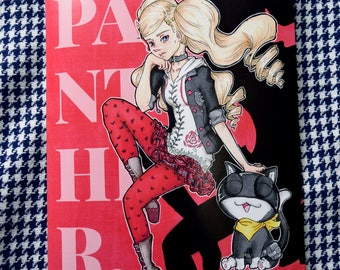 You're So Gorgeous, Panther! - 9x12 Persona 5 Shin Megami Tensei Inspired Ann Takamaki and Morgana Art Poster Print