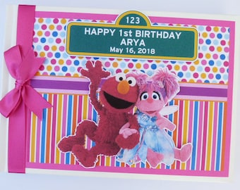 Sesame Street Elmo and Abby Birthday Guest Book / Scrapbook - any design
