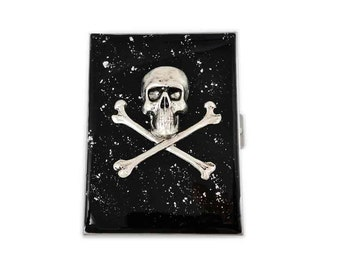 Metal Cigarette Case Silver Skull and Crossbones Inlaid in Hand Painted Glossy Black Onlyx Enamel with SIlver Splash Neo Victorian Accessory