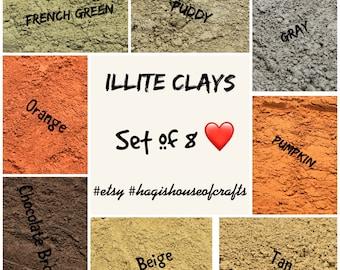 Set of 8 Illite Clays - Illite Clays - Sample of Illite Clays - Facial Clays - Face Mask Clays - Illite Clays - Facial Care - Skin Care