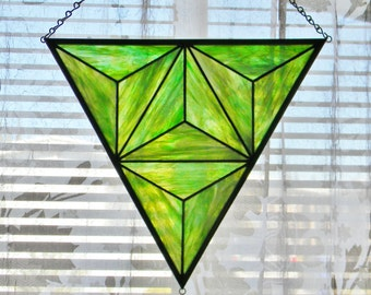 Geometric Stained Glass Window Panel in Iridescent Green - Ready to Ship