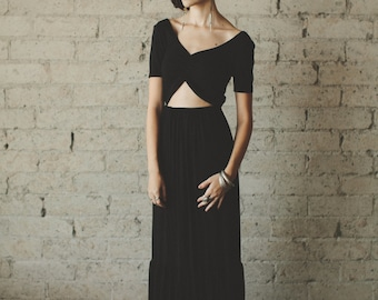 Bohemian Floor Length Half Sleeve Jersey Maxi with Keyhole Cutout Party Dress - Cleo by Cleo and Clementine