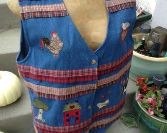 Vintage 80s kitsch barnyard denim patchwork vest size large free domestic shipping