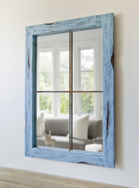Miroir rustique en difficult fausse fen tre bleu vieilli for Miroir rustique