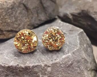 Bridesmaid Druzy Earrings - Gold - 10mm