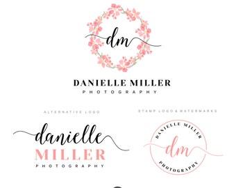 Handwritten flower wreath logo, Premade Branding Kit Photography logo, Watermark, Logo Design, Branding kit, Watercolor logo Photographer 30