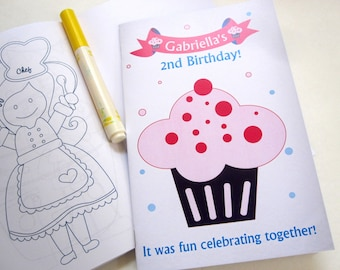 6 Cupcake Coloring Books, Birthday Coloring books, Personalized Coloring Books, Party Favors ,A1126