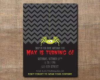 Spider Halloween Costume Party Custom Birthday Printable Invitation for Kids, Boys or Girls Chevron (Zig Zag)