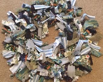 Blue and green fabric rag wreath