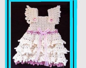 CROCHET PATTERN, Girl's Crochet Dress, Baby Dress, Newborn to 10 years, Ruffled Skirt, Easy Pattern, #776, Fancy party dress