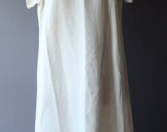 "1920s cream cotton/linen night gown, tunic, dress, 46"" bust, monogram AM"