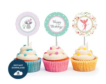 WOODLAND FAIRY Cupcake Toppers, Instant Download, Garden Party Decor, As Seen on Hostess with the Mostess
