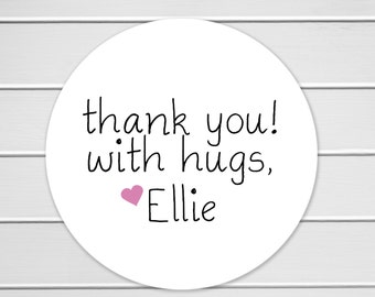 Thank You With Hugs, Thank You Hugs Sticker, Favors Thank You Stickers, Printable Stickers (#099)