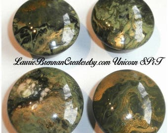 Custom One of a Kind Furniture and Cabinet Knobs- Olive, Gold and Sage Flow technique enhanced with Unicorn SPiT