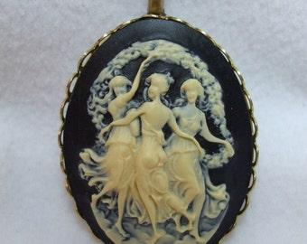etsy ja vintage cameo pendant mythological three graces carved lucite necklace reproduction mozeypictures Choice Image