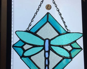 Green-Blue Stained Glass Dragonfly Suncatcher