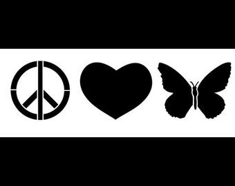 Peace, Love & Butterflies - Art Stencil - Select Size  - STCL1163 - by StudioR12